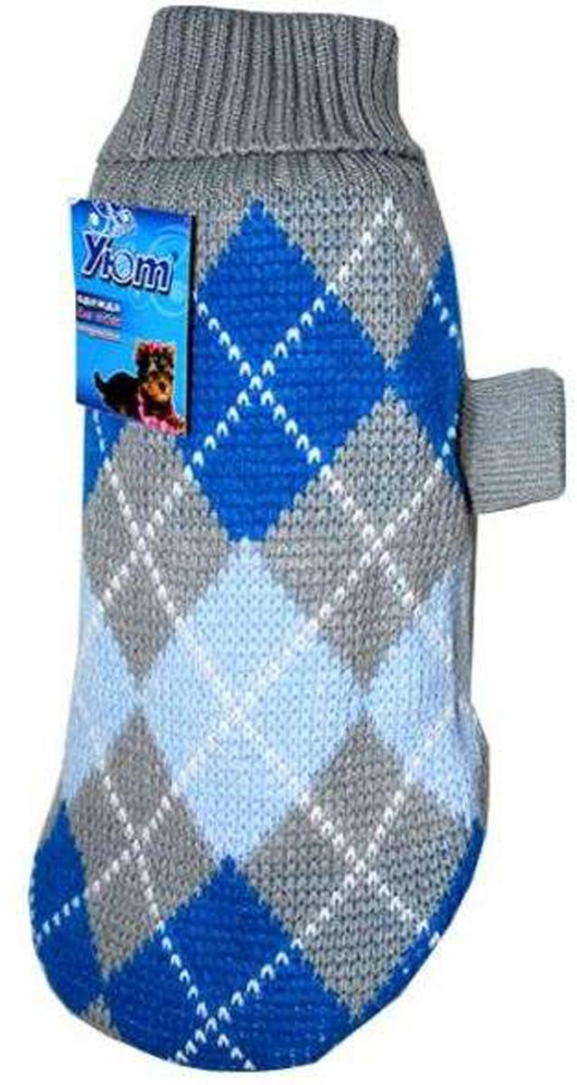 """Свитер для собак """"Уют"""", унисекс, цвет: серый, синий. НМ6С. Размер S"""