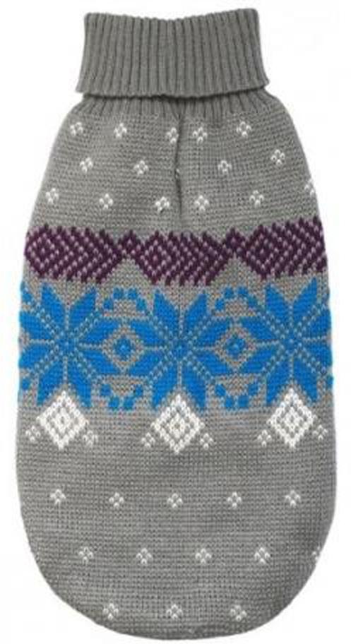 """Свитер для собак Уют """"Северный орнамент"""", унисекс, цвет: серый, голубой. НС14ХС. Размер XS"""