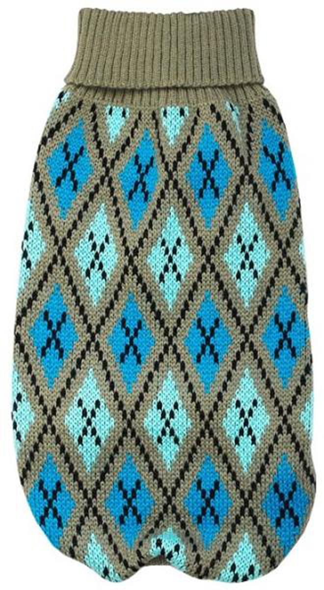 """Свитер для собак """"Уют"""", унисекс, цвет: серый, голубой. НС16Л. Размер L"""