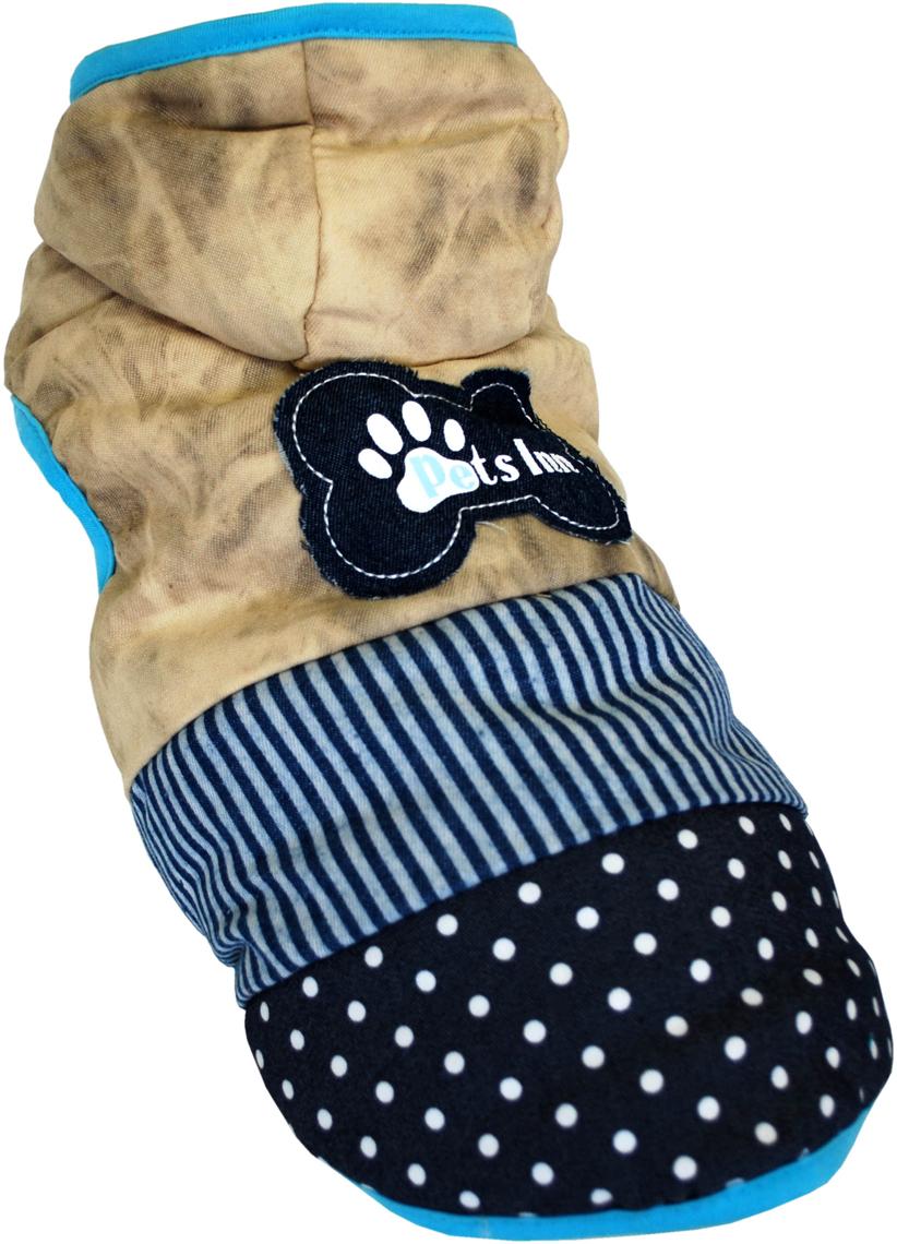 "Куртка для собак Pet's INN ""Косточка"", унисекс, цвет: бежевый, синий. Пет12Л. Размер L"