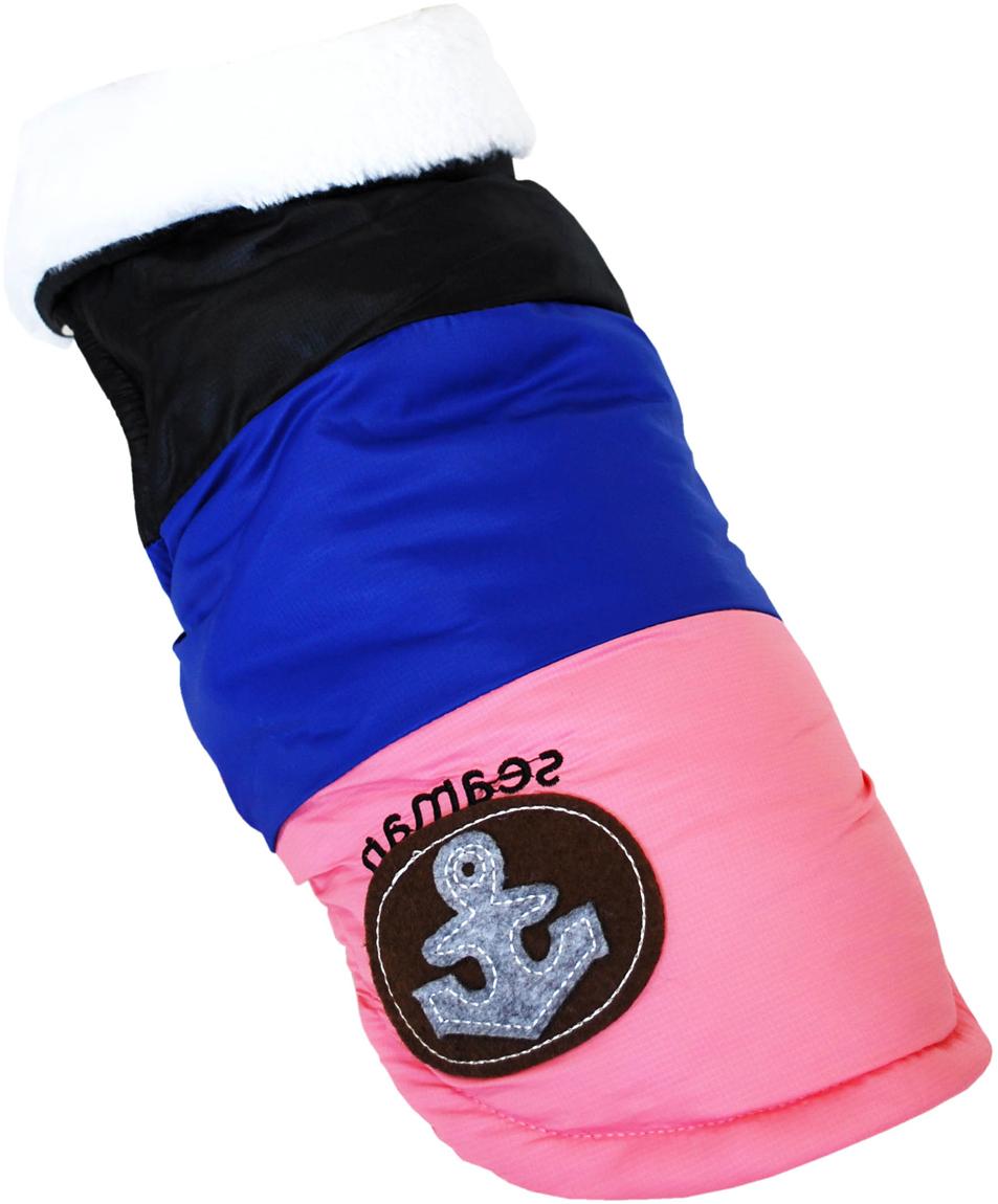 """Куртка для собак Pet's INN """"Якорь"""", унисекс, цвет: черный, синий, розовый. Пет17С. Размер S"""