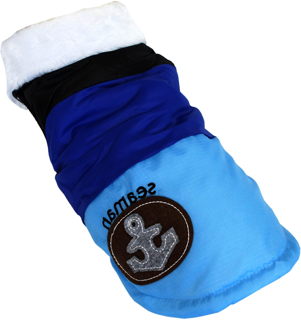 """Куртка для собак Pet's INN """"Якорь"""", унисекс, цвет: черный, синий, голубой. Пет19Л. Размер L"""