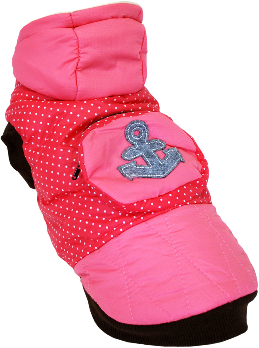 Куртка для собак Pets INN Якорь, для девочки, цвет: розовый. Пет21ХЛ. Размер XLПет21ХЛКуртка утепленная Pets INN Якорь прекрасно подходит для прогулок в холодное время. Модель выполнена из материала болонья, снабжена подкладкой и капюшоном. На спинке расположен карман на молнии. Куртка имеет красивый и яркий дизайн в морском стиле. Обхват шеи: 32-36 см. Обхват груди: 53-61 см. Длина спинки: 40 см.