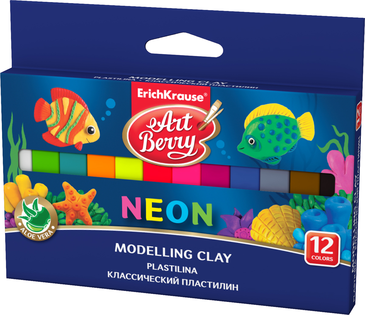 Пластилин ArtBerry Neon, с алоэ вера, 12 цветов, 180 г пластилин люкс 12 цветов 14с 1035 08