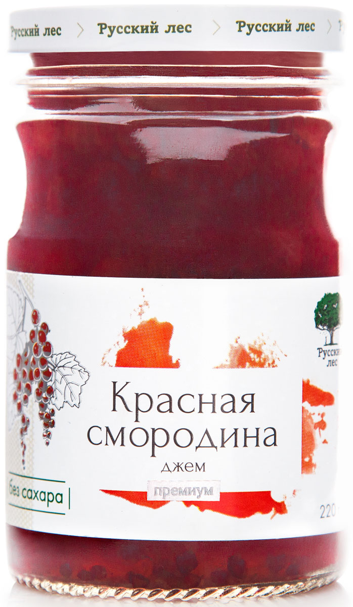 Русский лес Премиум джем из красной смородины без сахара, 220 г с буланов и петрова в шанин черноморское побережье кавказа путеводитель