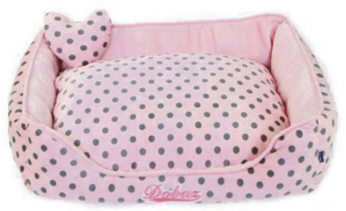 Лежанка для животных ДОБАЗ, цвет: светло-розовый, серый, 65 х 65 х 20 см для пикника лежаки