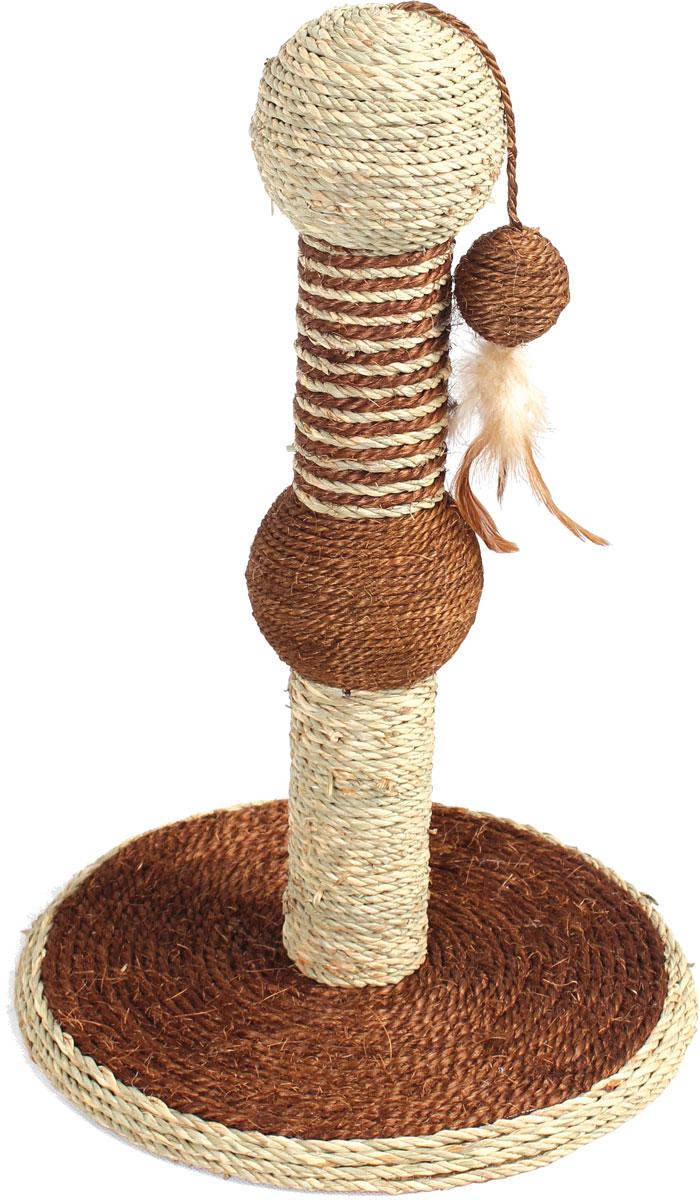 """Когтеточка """"Уют"""", сизаль, на подставке с игрушкой, 30 х 30 х 46 см"""