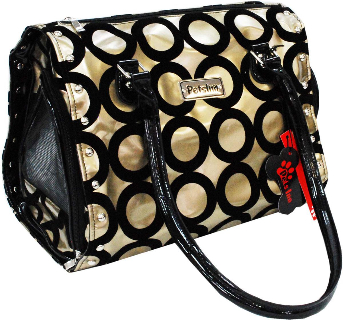 Сумка-переноска для животных Pets Inn, цвет: бежевый, черные круги сумка переноска для животных pets inn цвет черный