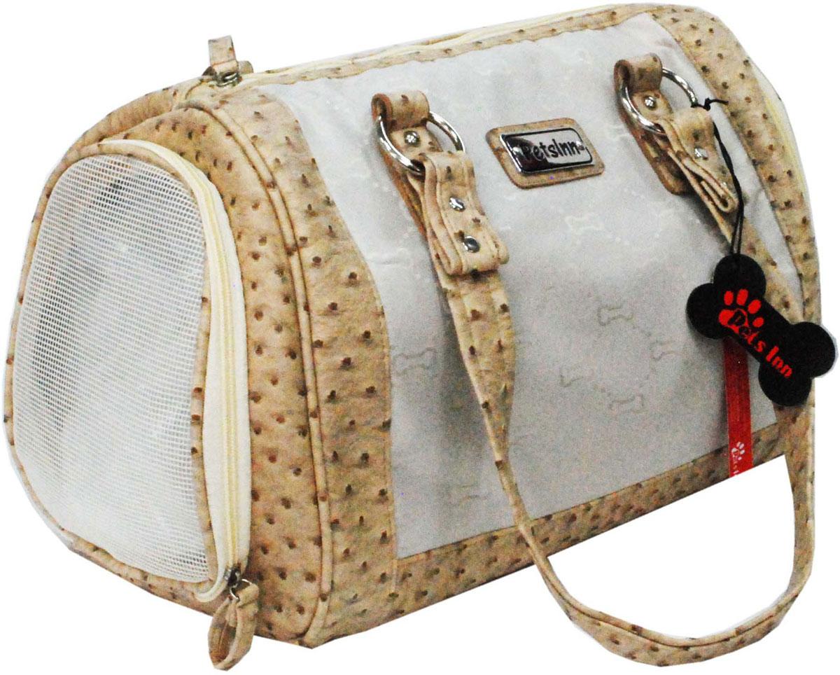 Сумка-переноска для животных Pets Inn, цвет: белый с бежевой окантовкой сумка переноска для животных pets inn цвет черный