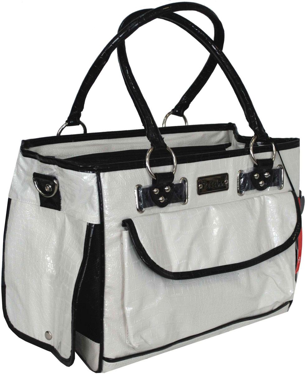 Сумка-переноска для животных Pets Inn, лаковая, цвет: белый сумка переноска для животных pets inn цвет черный