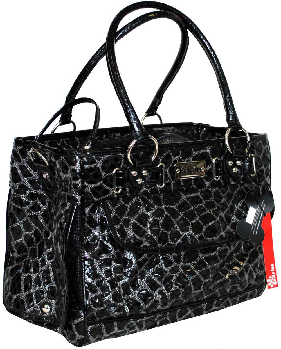 Сумка-переноска для животных Pets Inn, цвет: черный, каменный орнамент сумка переноска для животных pets inn цвет черный