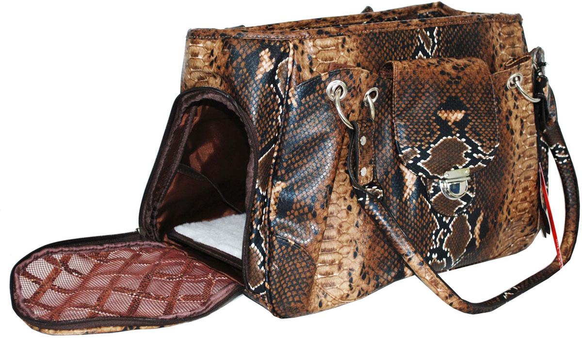 Сумка-переноска для животных Pets Inn, цвет: коричневый, змея раскраска по номерам африканские львы 28x39см