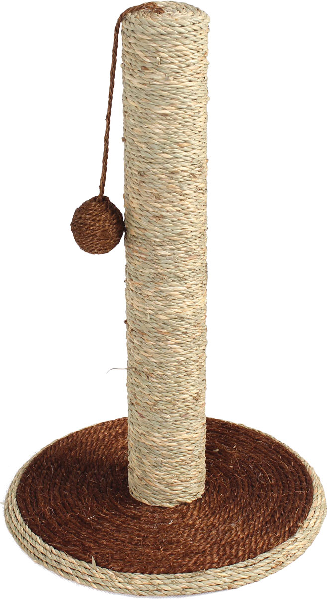 Когтеточка-столбик Уют, сизаль, на подставке с игрушкой, 30 х 30 х 46 см когтеточка triol на подставке цвет темно синий молочный 46 х 30 см