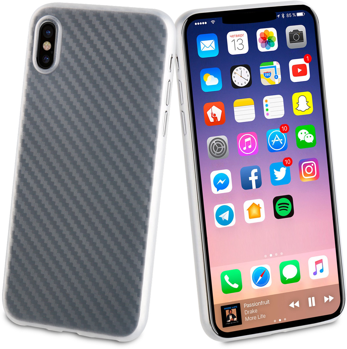 Muvit Carbon Case чехол для Apple iPhone X
