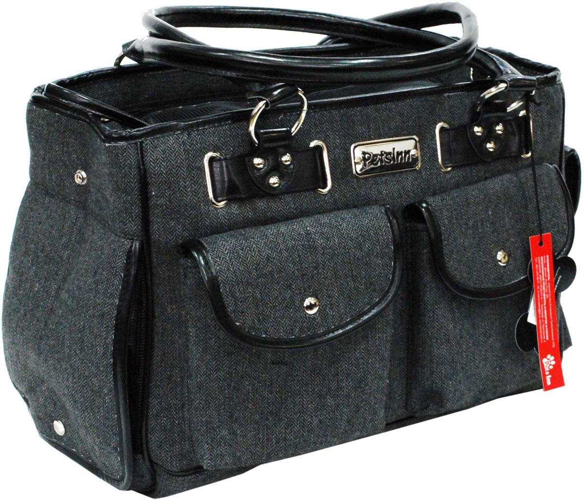 Сумка-переноска для животных Pets Inn, цвет: черный, темно-серый сумка переноска для животных pets inn цвет черный