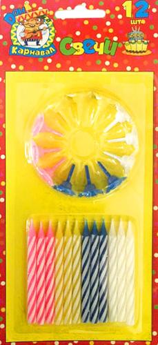Miland Свечи для торта с подставками цвет мультиколор 12 шт miland свечи для торта футбольный матч 5 шт