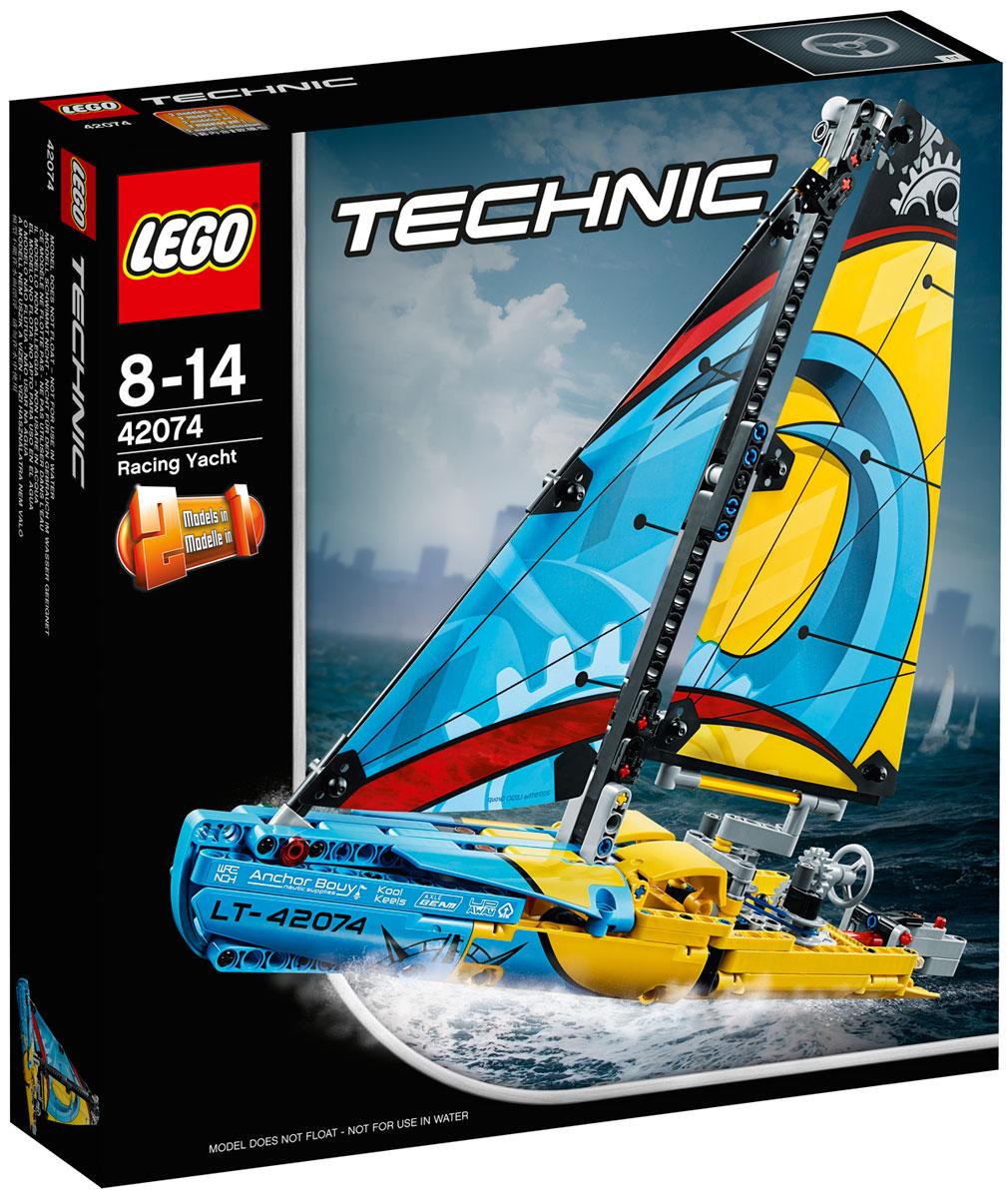 LEGO Technic 42074 Гоночная яхта Конструктор42074Первым пересеки финишную черту на этой восхитительной гоночной яхте. Эта детально проработанная модель яхты LEGO Technic 2 в 1 выполнена в спортивной желто-синей цветовой гамме с красивым печатным рисунком на парусах, лебедками и детально проработанным корпусом. Используй лебедки, чтобы поворачивать паруса и укрощать ветер, управляй пером руля с помощью колеса или штурвала и будь готов к высоким скоростям! Перестрой модель в великолепный Катамаран с множеством реалистичных деталей.