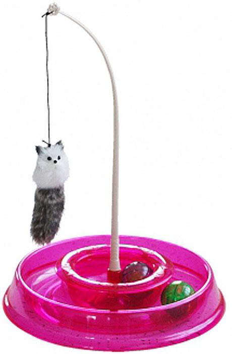 Игрушка для кошек №1 Лабиринт, с двумя мячиками и дразнилкой, 28 x 5 x 28 см игрушка для кошек 1 лабиринт с двумя мячиками и дразнилкой цвет серый 28 x 5 x 28 см