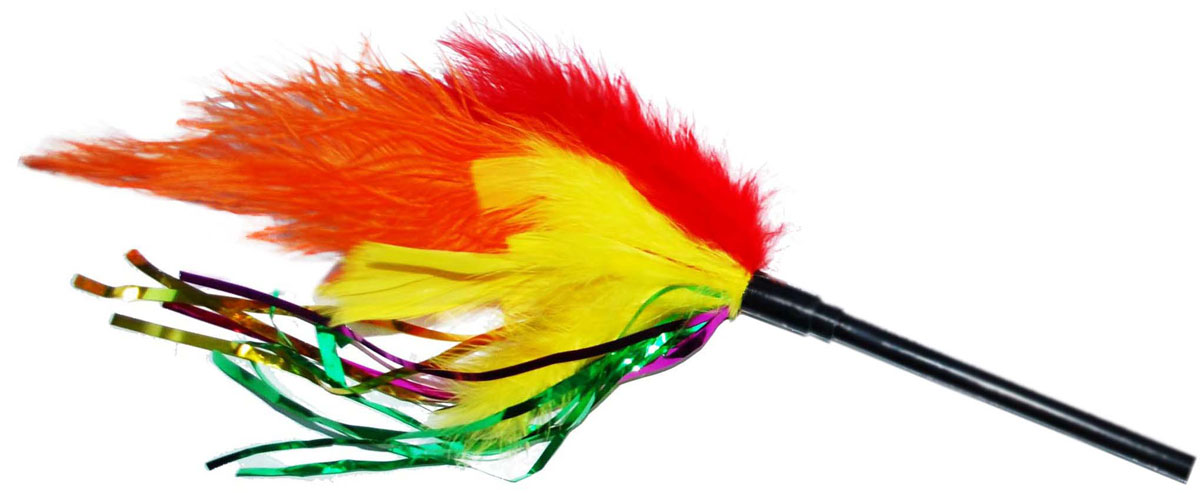 Фото - Дразнилка для кошек Уют Яркие перья, 38 см игрушка triol удочка дразнилка перья для кошек 48 см зеленые перья