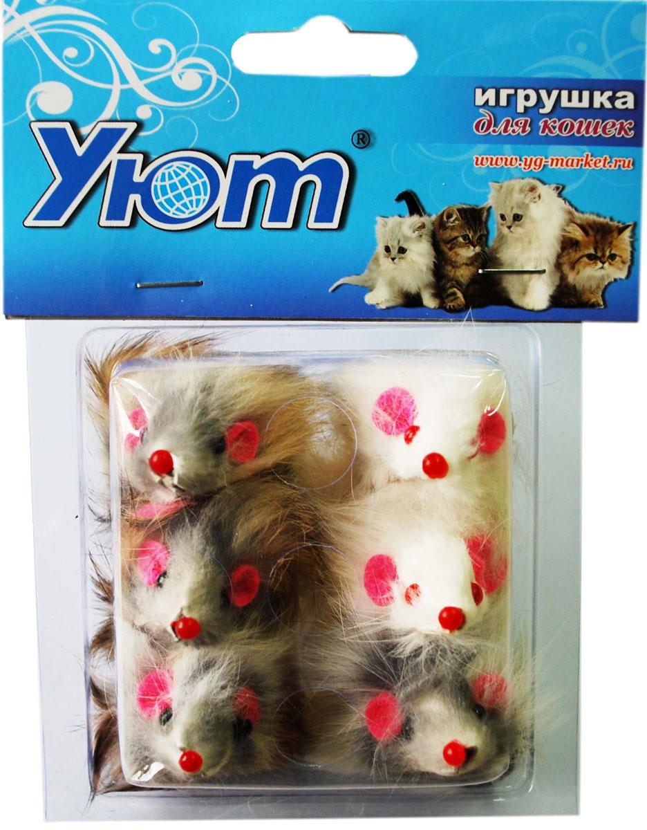 Игрушка для кошек Уют Мышь, 6 шт jissbon презерватив zero 24 шт секс игрушки для взрослых