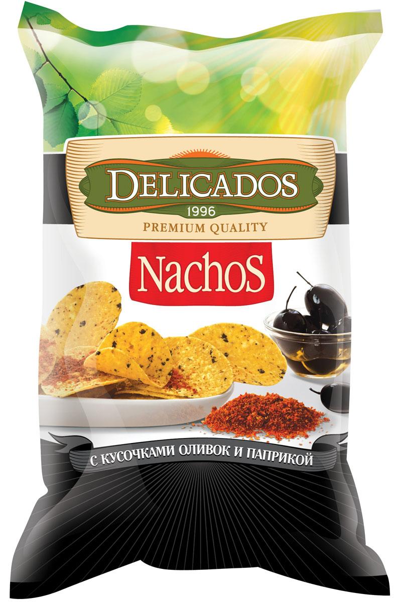 Чипсы кукурузные Delicados Nachos, оливки паприка, 75 г чипсы кукурузные delicados nachos оригинальные 75 г