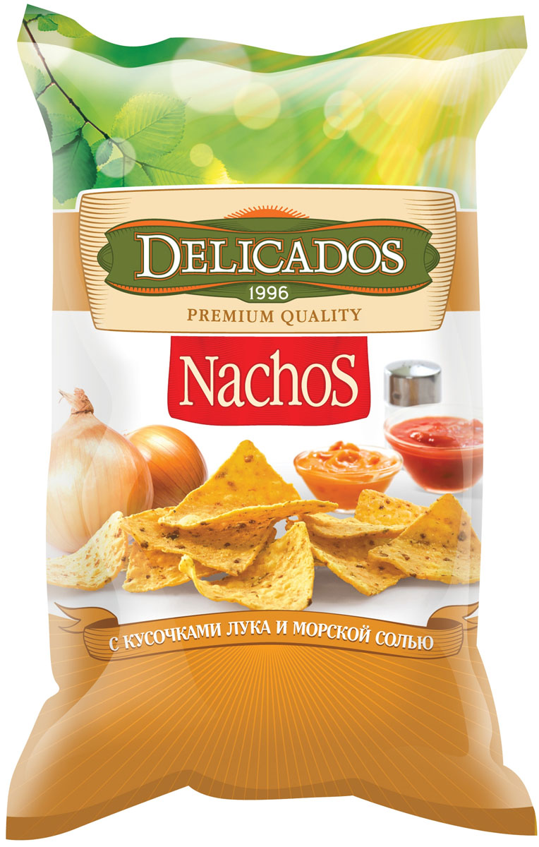 Чипсы кукурузные Delicados Nachos, лук морская соль, 150 г чипсы кукурузные delicados nachos оригинальные 75 г