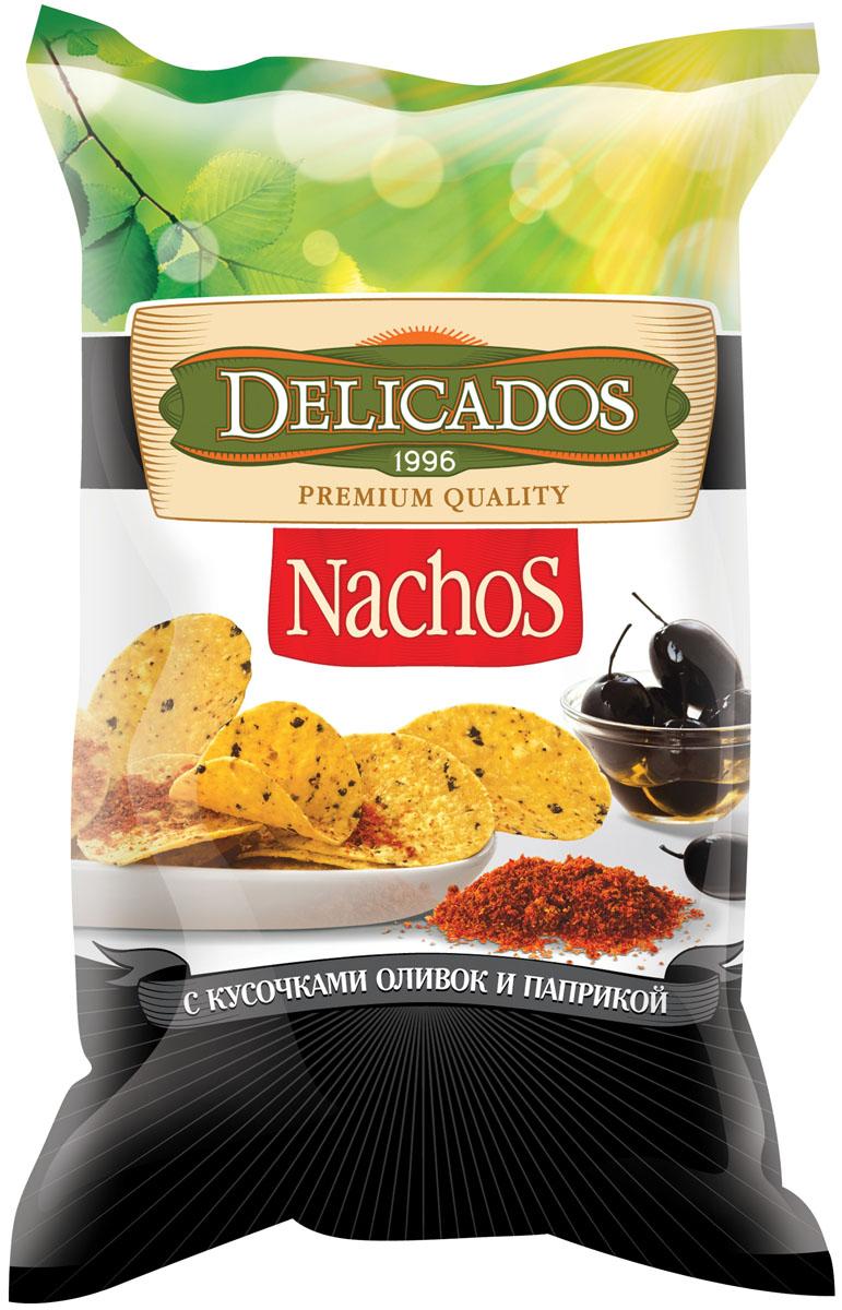 Чипсы кукурузные Delicados Nachos, оливки паприка, 150 г чипсы кукурузные delicados nachos оригинальные 75 г