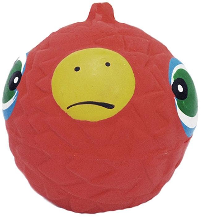 Игрушка для собак №1 Мяч-мордашка, с пищалкой, цвет: красный, 6 см игрушка для собак osso fashion кубики на резинке с пищалкой цвет красный зеленый 10 х 22 см