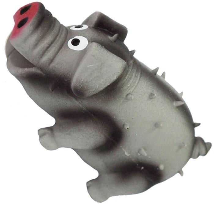 Игрушка для собак №1 Свинка, с пищалкой, цвет: серый, 10 см игрушка для собак osso fashion кубики на резинке с пищалкой цвет красный зеленый 10 х 22 см