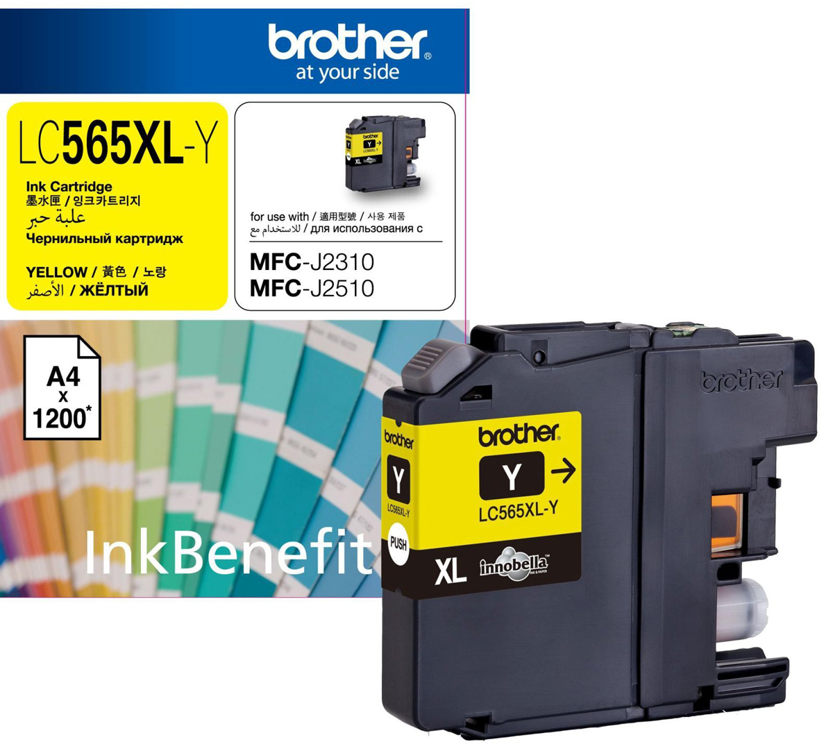 Картридж Brother LC565XLY, желтый, для струйного принтера цена в Москве и Питере
