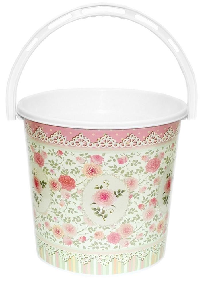 Ведро хозяйственное Violet Чайная роза, цвет: розовый, 10 л ведро violet 10 л сапфир