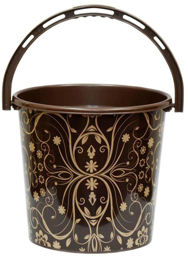 Ведро хозяйственное Violet Элегант темный, цвет: шоколадный, 10 л ведро violet 10 л сапфир