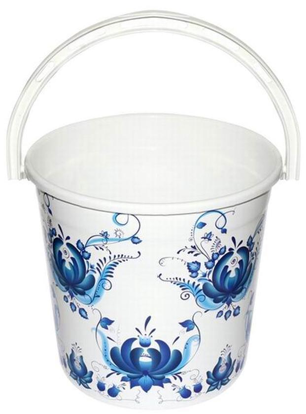 Ведро хозяйственное Violet Гжель, цвет: белый, синий, 10 л ведро violet 10 л сапфир