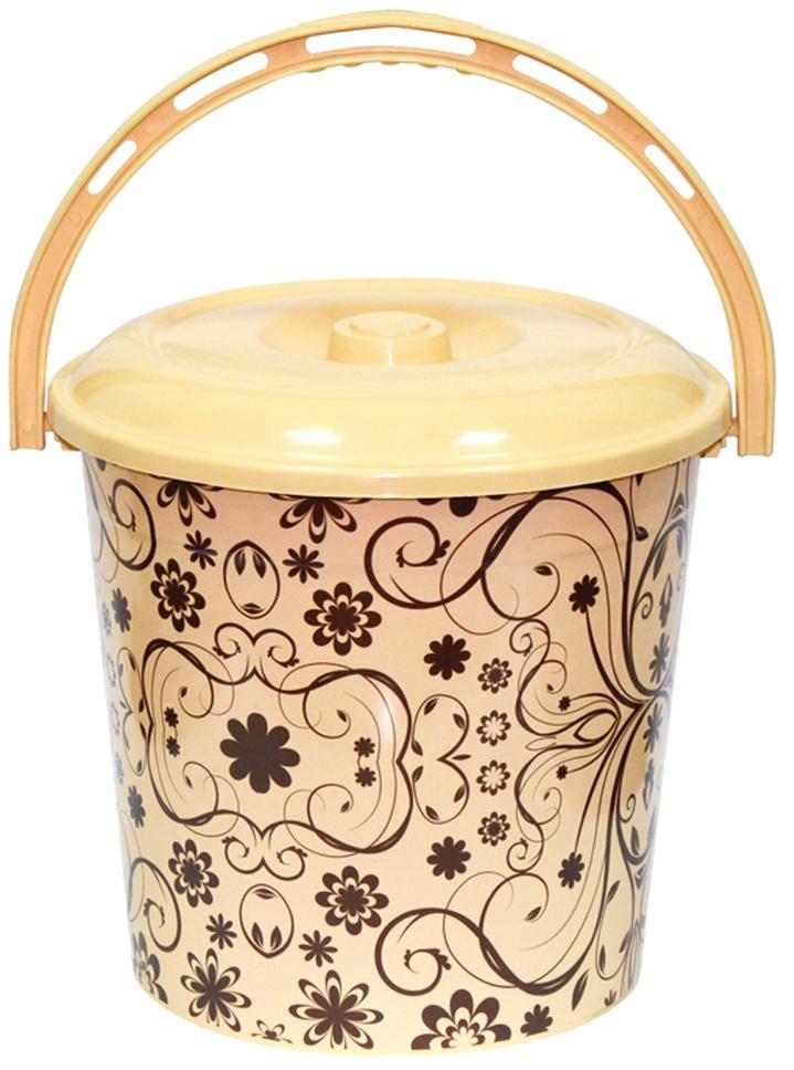 Ведро хозяйственное Violet Элегант светлый, с крышкой, цвет: светло-коричневый, 10 л фляга сплав hr c 750 мл