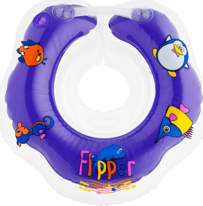 Roxy-kids Круг музыкальный на шею для купания Flipper цвет фиолетовый