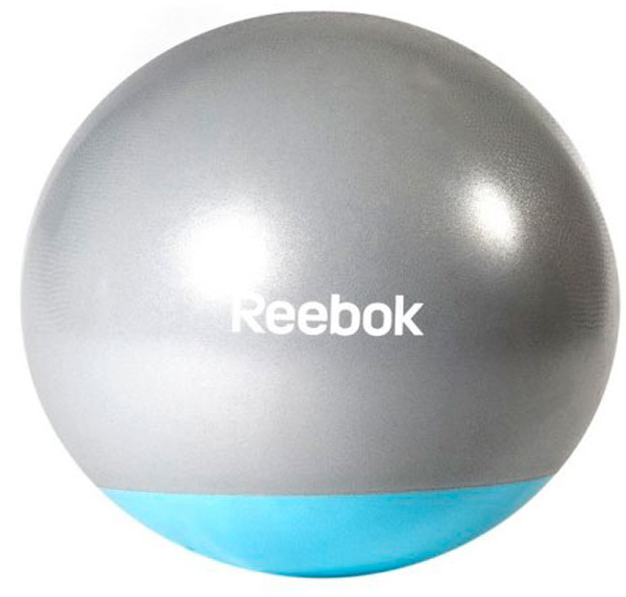 Мяч гимнастический Reebok Gymball Two Tone, антивзрыв, цвет: серый, голубой, диаметр 65 см мяч reebok two tone rab 40016bl