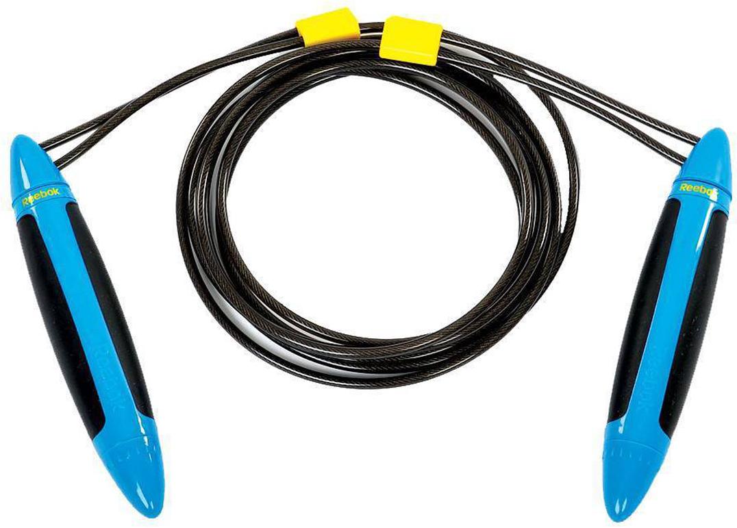 Фото - Скакалка утяжеленная Reebok Pro, цвет: черный, синий, 3 м скакалка starfit rp 104 с подшипниками цвет синий черный длина 3 05 м