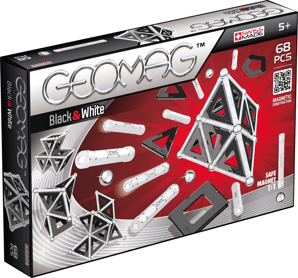 Geomag Конструктор магнитный Black & White 68 элементов012Конструктор Geomag, состоящий из магнитных палочек и хромированных стальных шариков. Материал: магнит, пластик, сталь. Позволяет собирать огромное количество геометрических форм.