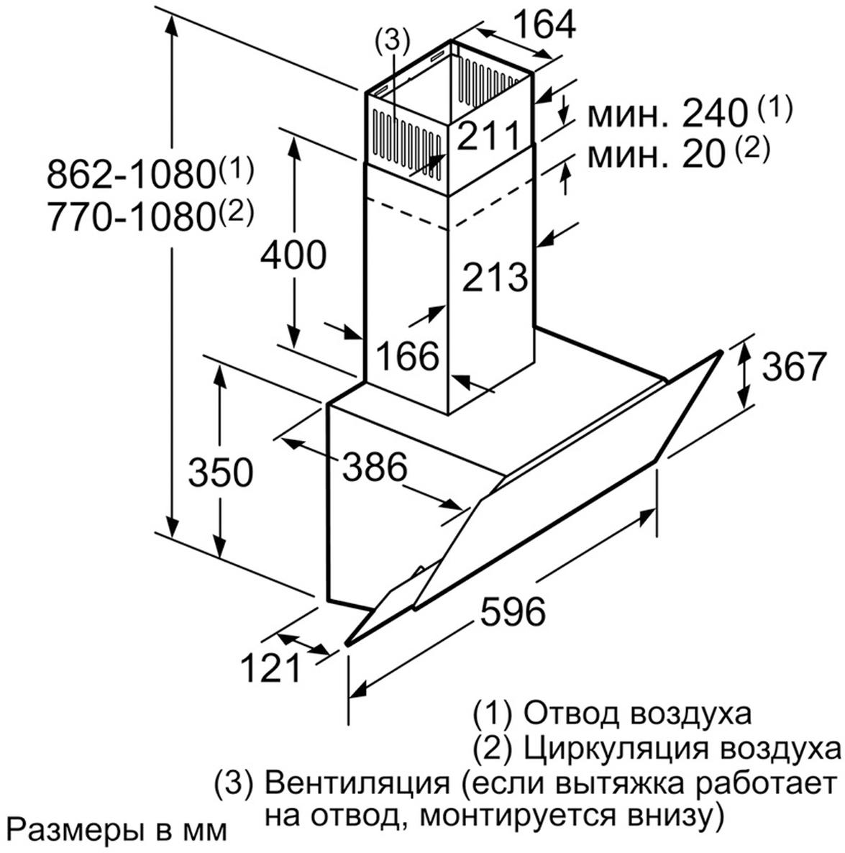 Вытяжка Bosch, со стеклом, DWK 065 G 20 R Наклонная вытяжка BOSCH DWK065G20R не только поможет эффективно...