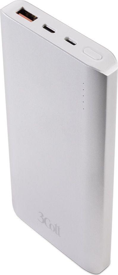 3Cott 3C-PB-100QC, Silver внешний аккумулятор (10 000 мАч) аккумулятор 3cott 12v5 0ah