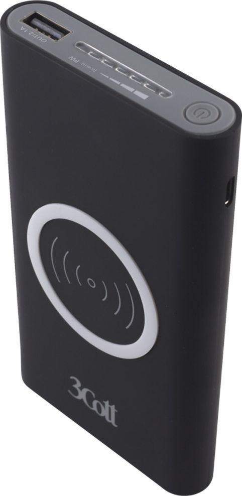 3Cott 3C-PB-80A, Black внешний аккумулятор с беспроводной зарядкой (8000 мАч) аккумулятор 3cott 12v5 0ah