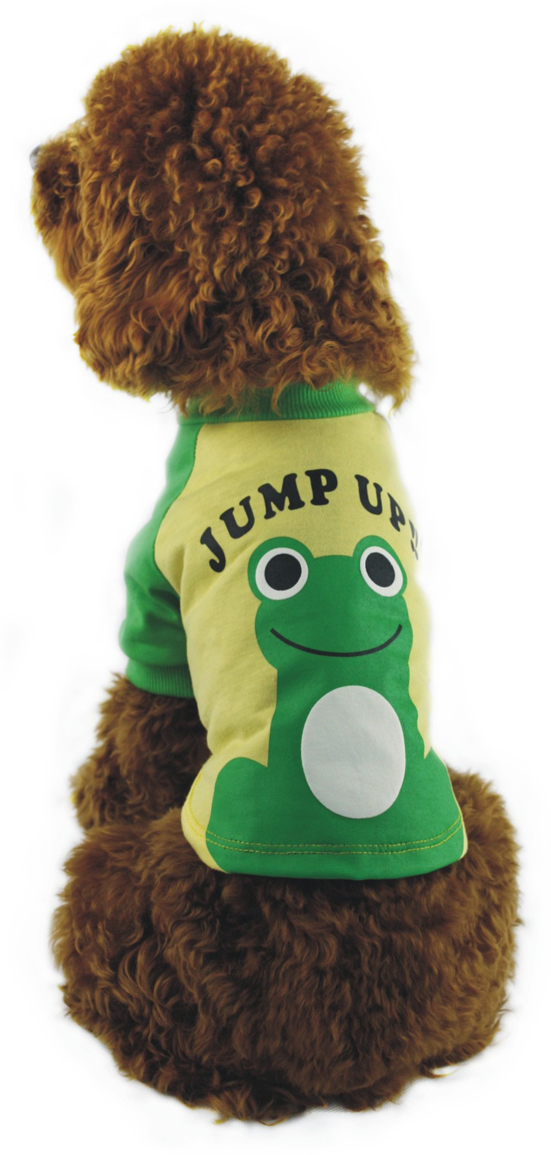 Майка для собак Dobaz Лягушка, унисекс, цвет: зеленый, желтый. ДА1110БХХЛ. Размер XXL майка для собак dobaz паровозик унисекс цвет темно зеленый оранжевый да025бххл размер xxl