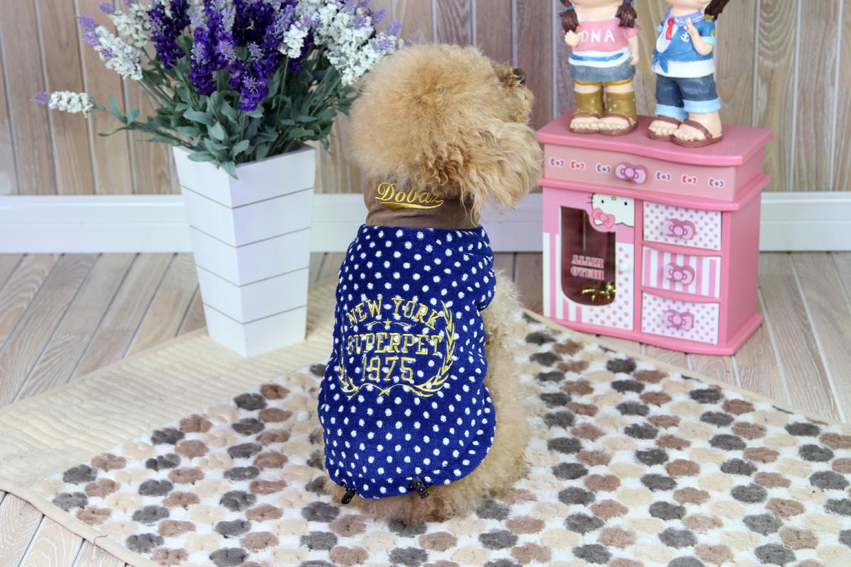 Толстовка для собак Dobaz, унисекс, цвет: синий, белый. ДА1224ДХС. Размер XS толстовка мужская кхл цвет темно синий 262860 размер xs 46