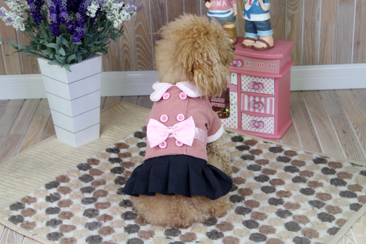 """Платье для собак """"Dobaz"""", утепленное, цвет: темно-розовый, черный. ДА1246СЛ. Размер L"""