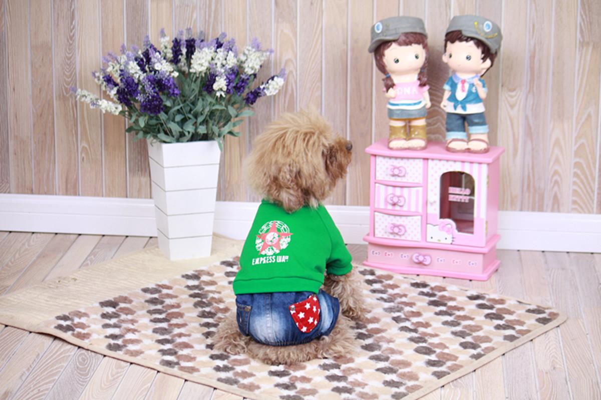 """Комбинезон для собак Dobaz """"Звезда"""", цвет: джинсовый, зеленый. ДЛ1212ВХЛ. Размер XL"""