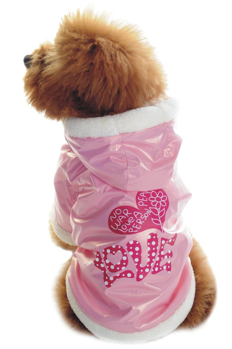 "Куртка для собак Dobaz ""LOVE"", цвет: нежно-розовый. ДА1128АХС/п. Размер XS"