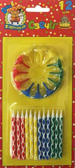Miland Свечи для торта с цветным узором с подставками 12 шт miland свечи для торта футбольный матч 5 шт