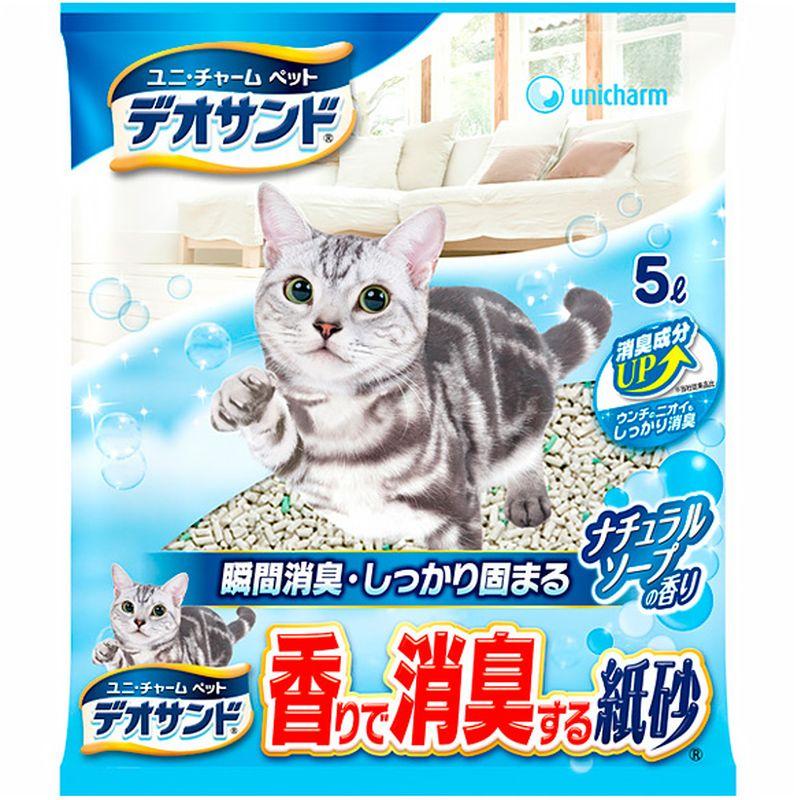 Наполнитель для кошачьего туалета Unicharm Deo Sand, бумажный, дезодорирующий, 5 л шарики дезодорирующие для кошачьего туалета unicharm мягкий мыльный запах 450 мл