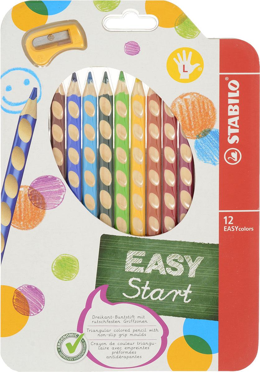 Набор цветных карандашей Stabilo Easycolors для левшей, 12 цветов331/12Преимущества карандашей STABILO EASYcolors. Специальные углубления на корпусе карандаша подсказывают ребенку как располагать большой и указательный пальцы, прививая первоначальный навык правильно держать пишущий инструмент. Расположение углубление по всей длине корпуса обеспечивает правильное удержание карандаша ребенком при письме и рисовании даже после заточки карандаша. С течением времени навык автоматически закрепляется в памяти ребенка, позволяя ему быстрее и легче адаптироваться к процессу обучения письму, освоить правильную технику письма и сделать письмо красивым и быстрым. Создают максимальный комфорт для ребенка - трехгранная форма карандаша соответствует естественному захвату руки, уменьшая мышечные усилия, необходимые для его удержания, - ребенок может рисовать длительное время без ощущения усталости. Утолщенная форма корпуса облегчает удержание карандашей детьми с недостаточно развитой мелкой моторикой руки. Карандаши разработаны с учетом особенностей строения руки ребенка и имеют две версии: для правшей и для левшей, обеспечивая им одинаково комфортное письмо. Рекомендуются в начале обучения рисованию и письму. Мягкий грифель легко рисует на бумаге, не царапая ее и не крошась, и оставляет яркий след без каких-либо усилий Утолщенный грифель диаметром 4,5 мм не нуждается в постоянном затачивании, так как имеет повышенную стойкость к поломкам. 12 ярких насыщенных цветов, карандаши можно подписать.Карандаши являются обладателями Европейского сертификата качества (ма...