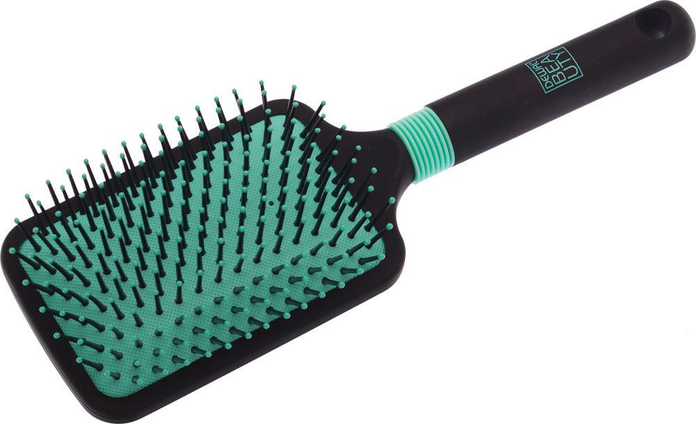 Dewal Beauty Щетка для волос Бирюза, массажная, квадратная, цвет: черный dewal beauty щетка для волос бирюза продувная прямоугольная цвет черный